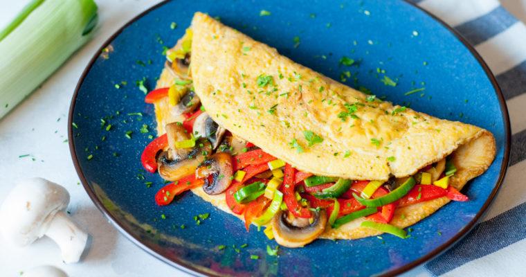 Omelet gevuld met groenten